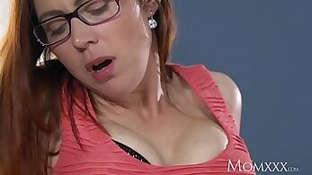 Busty MILF in stockings fucking for her husband