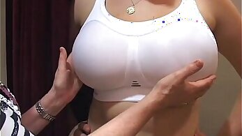 Stunning girl oils up her big tits in a tent and gets fucked