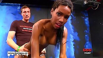 Black girls wanking raw on stage and licking pussy gets fucked