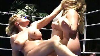 Lesbian honeys with hot boobs