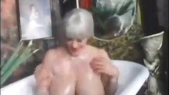 Busty grandma and a stranger fucking in the bathroom