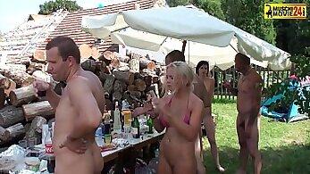 Cfnm party parades with slim hardcore fuck