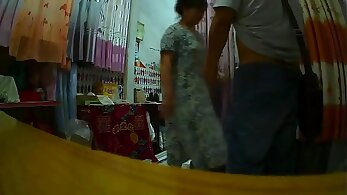 Chinese granny bends over and fucks guy