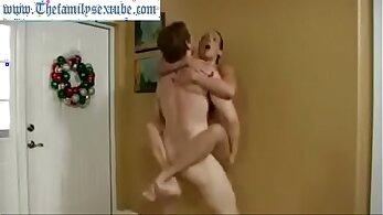 Cock sucking MILF son when mom go to trim