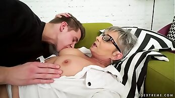 Sexy old grandma fucked by young monster cock