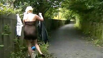 Blonde waitress Jacqueline public flashing and masturbating