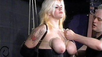 Bound busty amateur blonde BDSM sixtynine