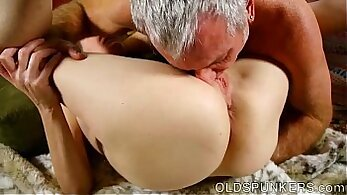 Blue eyed hottie Christy gets two cocks to play with her pussy on the bed