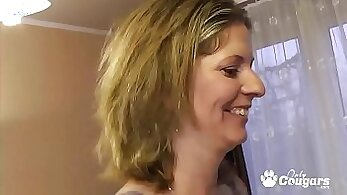 Cheesy milf gets dicks in slit and meaty young asshole in group sex