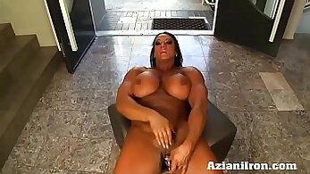 Angel masturbates while working out her clit