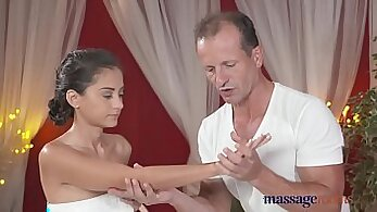 Blond petite girl massages his cock