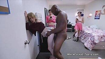 Booty Bitch Masturbates Together With BBC