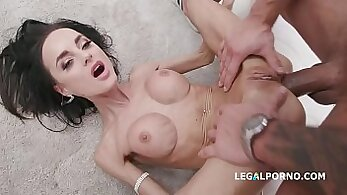 Curvy ebony dp and anal creampie